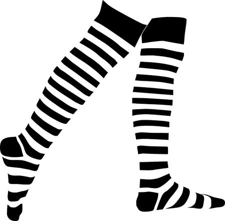 clip art feet: a legs in stripped socks  Illustration