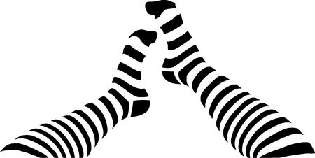 clip art feet:  a legs in stripped socks