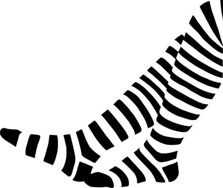 una piernas en calcetines stripped  Ilustración de vector