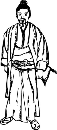 ancient samurai isolated on background