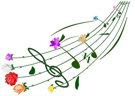 spring festival:  music floral note theme isolated