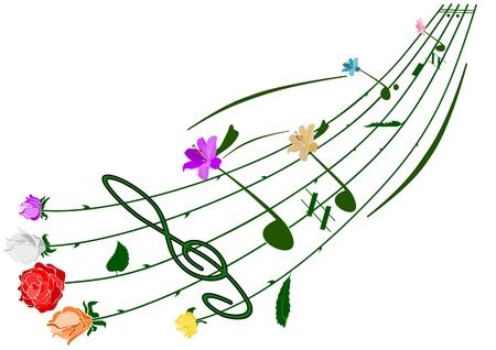 muziek bloemen opmerking thema geïsoleerd