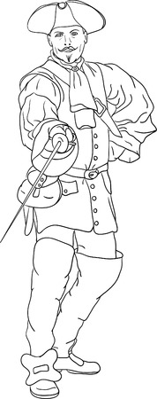 cavalier:  musketeer isolated on background