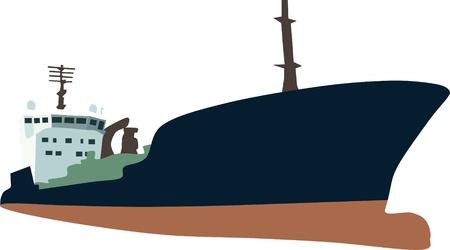 Gros porte-conteneurs navigation isolé sur fond Vecteurs