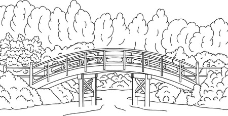 Japanese garden with a bridge over water Stock Vector - 6980251