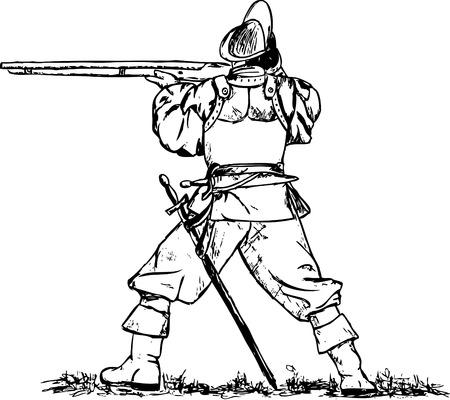 mosquetero: mosquetero aislado en segundo plano