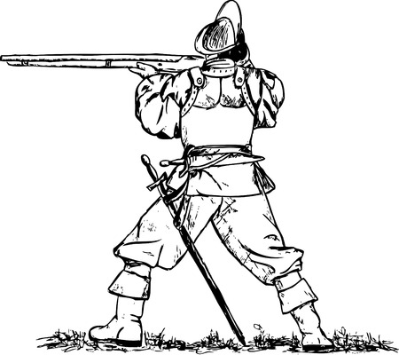 the middle ages:  musketeer isolated on background