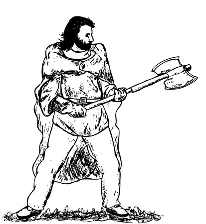 barbaric:  viking with big battle axe isolated on background