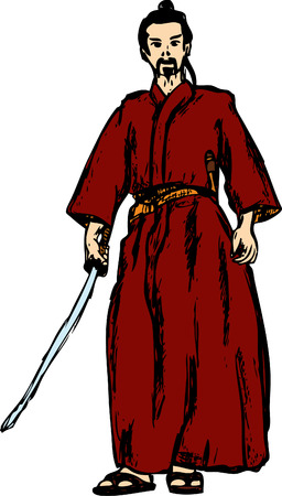 ancient samurai isolated on background Vector