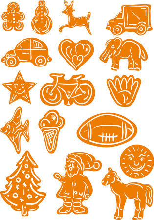 set of Gingerbread Christmas cookies   Stock Vector - 7033143