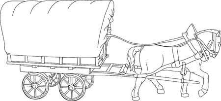 horse cart, the sheet is a place for your text Stock Vector - 7033097
