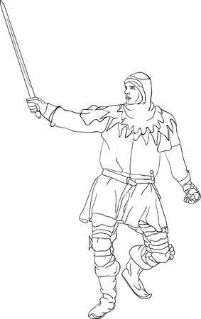 the middle ages:  Knight with scimitar isolated on background Illustration