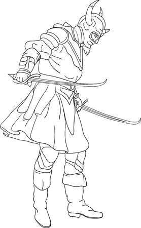 scimitar:  Knight with scimitar isolated on background Illustration