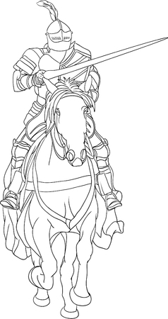 knight on horse isolated on background Vector