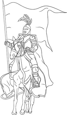 mosquetero: Caballero a caballo aislado en segundo plano  Vectores