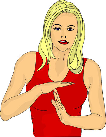 women gesture time out