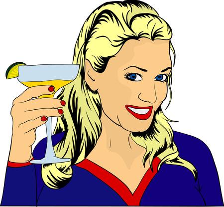 nice women with glass Vettoriali
