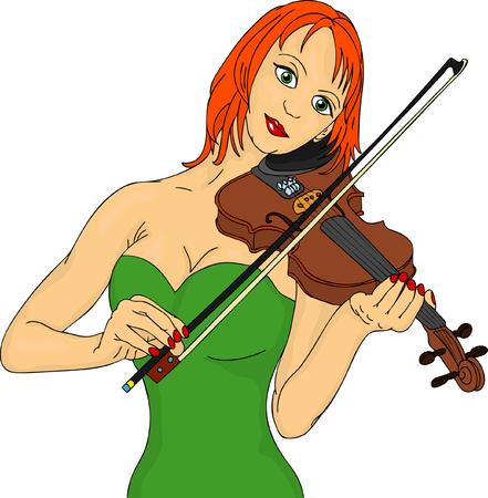 mujer bonita tocando violín  Foto de archivo - 7033140