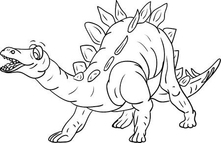 stegosaurus:  contour stegosaurus isolated on background