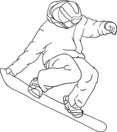 snowboard:  snowboarder isolated on  background Illustration