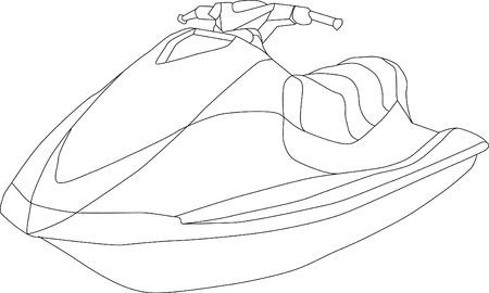 bateau de course: bateau de Jet isol� sur fond  Illustration