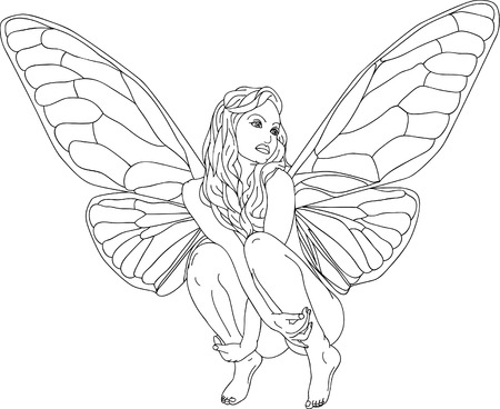 butterfly  angel:  Fairy-tale isolated on background Illustration