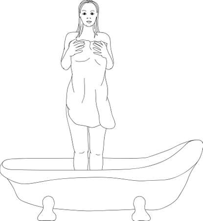 woman with a towel in the bathroom Vector