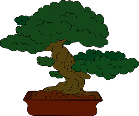 cartoon dwarf: small tree at pot isolated on background