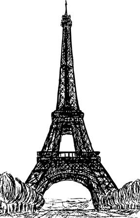 illustration technique: Eifel Tower in Paris, Europe Illustration