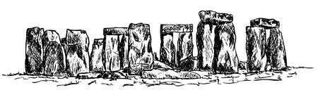 drawing stonehenge isolated on background
