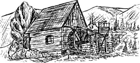 waterwheel: drawing ancient water mill on mountains Illustration