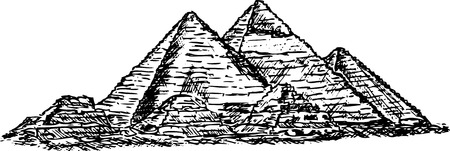 archaeology: pyramid in Giza ,isolated on background