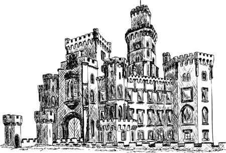 handdraw romantische palace Hluboka, Tsjechië, Europa Stock Illustratie