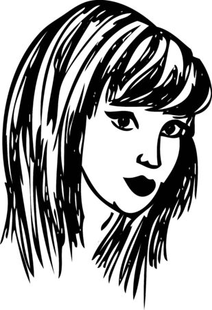 hand draw girl face isolated on background Vector
