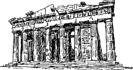 hellenic: hand draw Pantheon , Greece, isolated on background Illustration