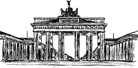 hand draw Brandenburg gate, isolated on background Vector