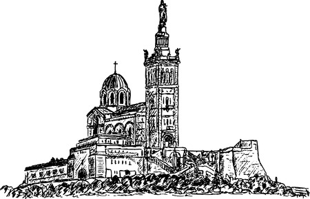 dame:  notre dame , hand draw, isolated on background Illustration