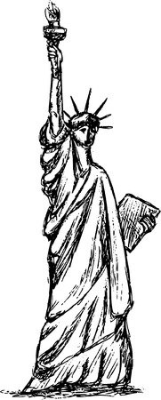 statue of Liberty, isolated on background Vector