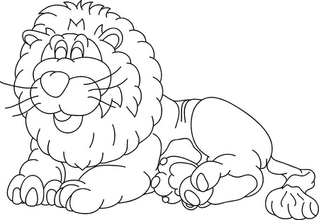 happy lion lying, isolated on background Vector