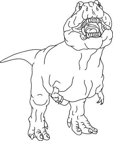 extinction: Dinosaur T rex isol� sur fond  Illustration