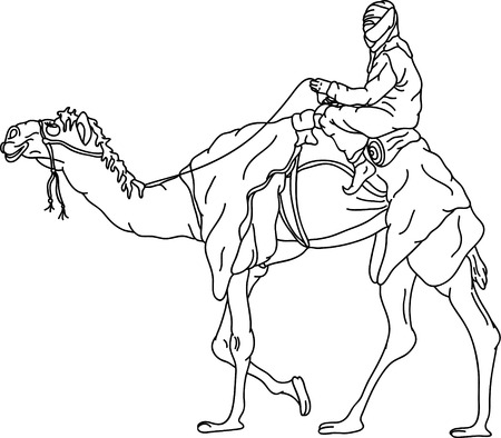 bedouin: vector - bedouin riding a camel,isolated on background