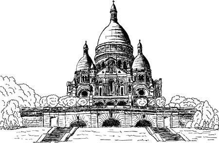 coeur: vector - Sacre coeur, hand draw, geïsoleerd op achtergrond