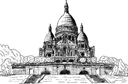 coeur: vector - Sacre coeur, hand draw, isolated on background
