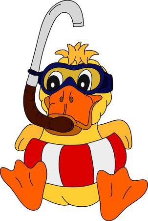 duck: vector - duck diver with swimming belt sitting on background