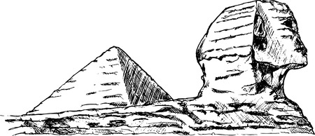 esfinge: Esfinge de esbozo de sorteo de mano con pir�mide
