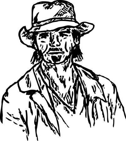 old cowboy: portrait of a bearded old cowboy