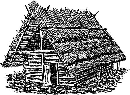 Prähistorische Hütten aus Holz und Schilf, Hand-Zeichnung