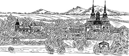 pilgrim church &quot,Velehrad&quot, hand draw Vector