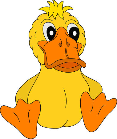 a young duck sitting on background Vector
