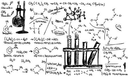 quimica organica: mano dibujar qu�mica org�nica en segundo plano  Vectores